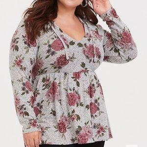 Torrid floral babydoll sweater